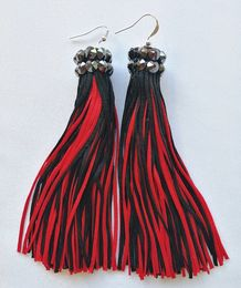 Tassel earrings, red-black