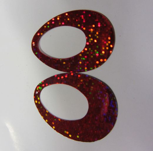 Oval sequin (large) red hologram