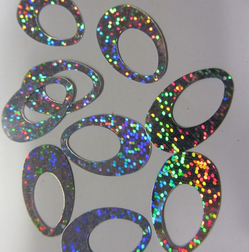 Oval sequin (small) silver hologram