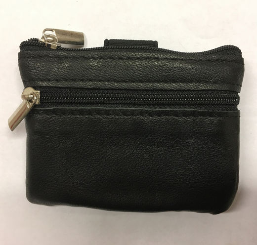 Black leather wrist wallet